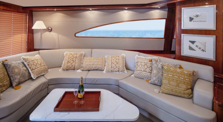 Couch in boat's salon area